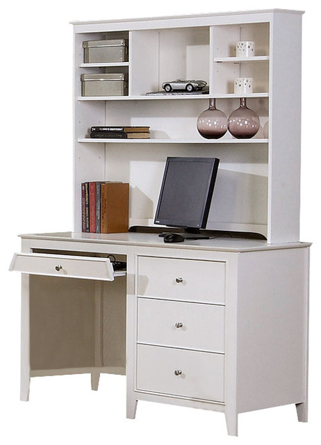 Youth White Computer Desk W Hutch Traditional Kids