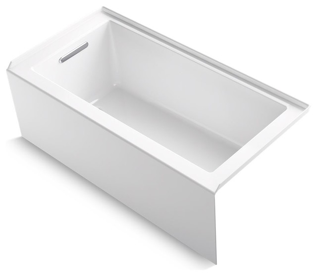 "Underscore Alcove Bath With Integral Apron, White, 60""x30"", Left-Hand Drain."