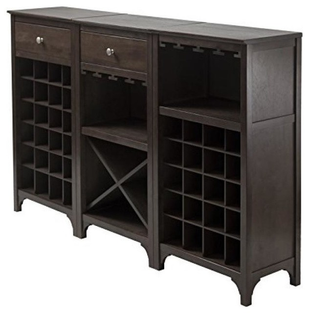 Winsome Wood Transitional Ancona 3-Piece Wine Cabinet