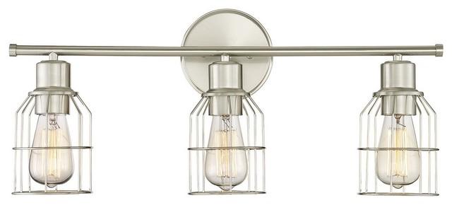 Trade Winds Peyton 3-Light Bathroom Vanity Light in Brushed Nickel