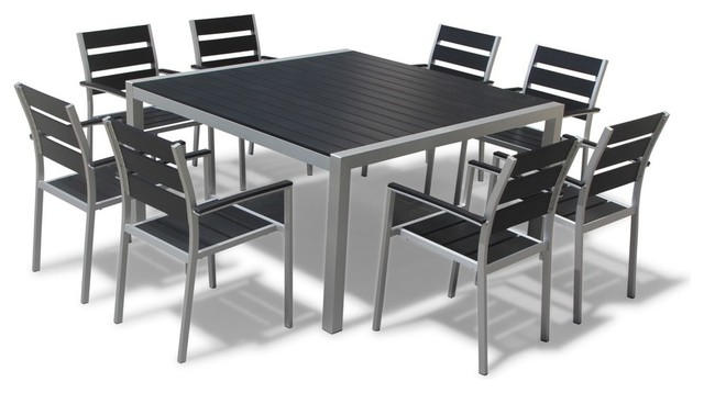 Outdoor Aluminum Resin 9-Piece Square Dining Table and Chairs Set