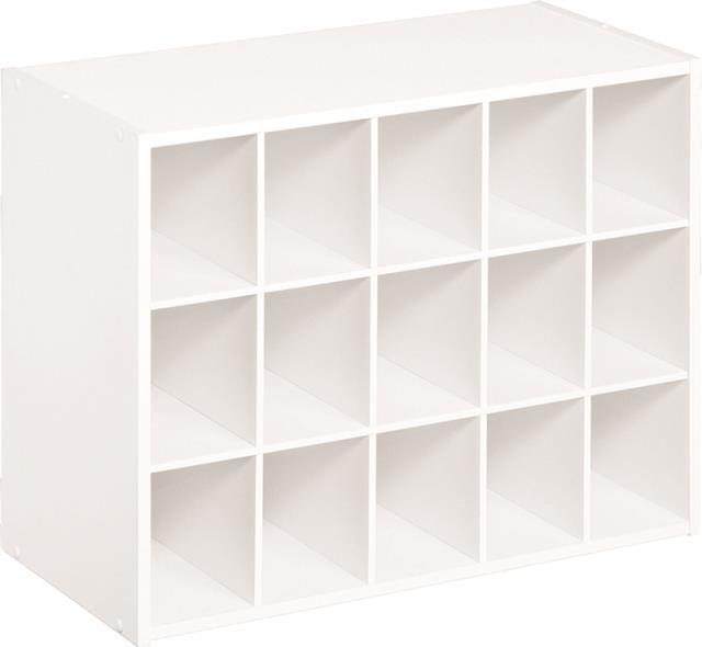 15 Pair Shoe Organizer, White Contemporary Shoe Storage