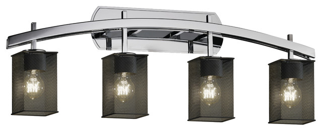 Wire Mesh Archway 4-Light, Bath Bar With Square, Flat Rim Shade, Wire Mesh Shade - Transitional ...