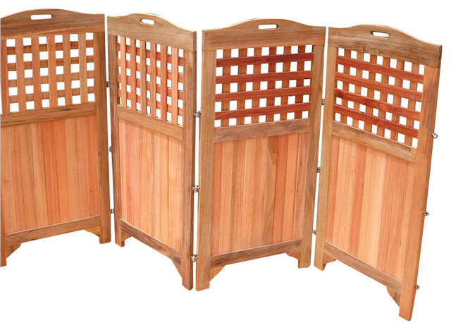 Vifah Outdoor and Indoor Hardwood Teak Privacy Screen ...