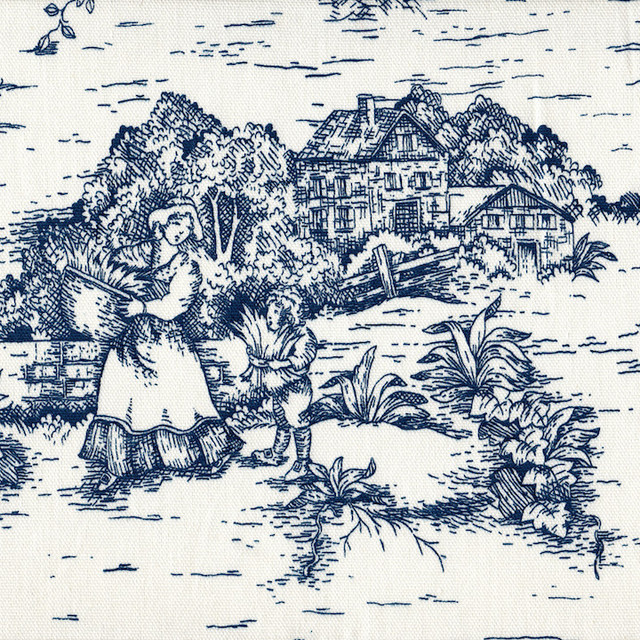 French Country Toile Nautical Blue Rod Pocket 36 Tailored Tier Curtain Panels.