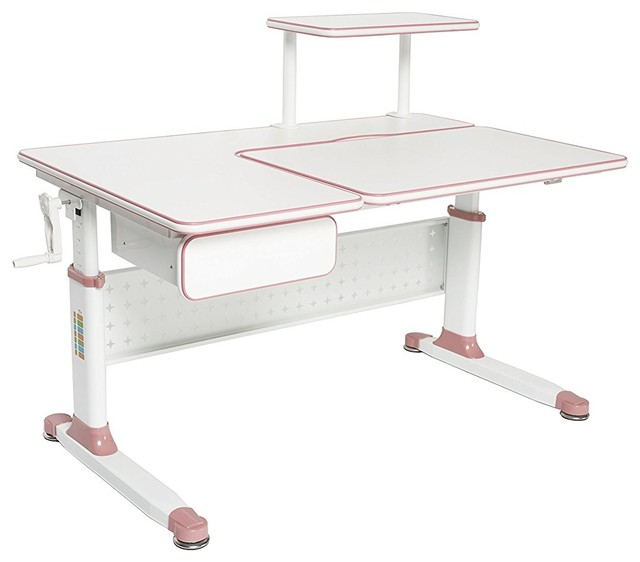 Little Soleil Children S Height Adjule Study Desk Wild Strawberry Pink Contemporary Kids Desks