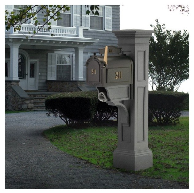 Whitehall Mailbox Plus Mayne Post Liberty Package In Granite Contemporary