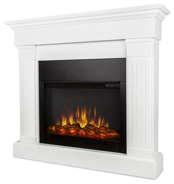 Crawford Slim Line Electric Fireplace, White.