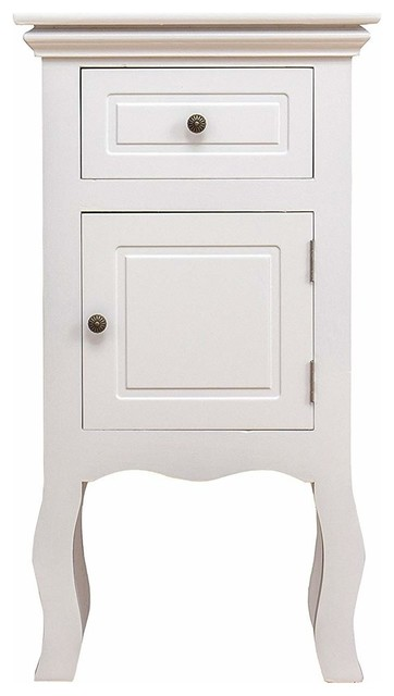 Bedside Table, White Finished Wood With Curved Legs, Door and Storage Drawer