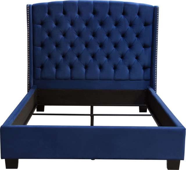 Majestic Cal King Tufted Bed In Royal Navy Velvet With Nail Head Wing Accents.