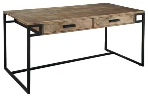 "Hekman 27761 60"" Iron Framed Wood Writing Desk, Gray/brown"