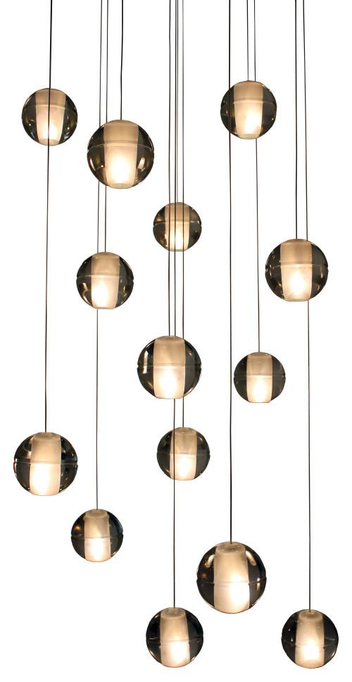 Lightupmyhome Orion 14 Light Floating Glass Globe LED Chandelier, Antique Brass