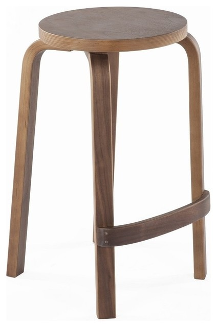 Stilnovo Round Solid Wood Backless Counter Stool