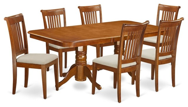 7-Piece Dining Room Set Table, Leaf and 6 Chairs for Dining With Cushion