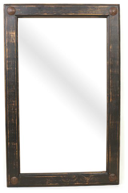 "Black Creek Rustic Handmade Mirror, 19""x24""."