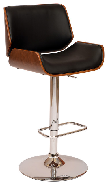 armen living london swivel pu bar stool walnut veneer and chrome base black