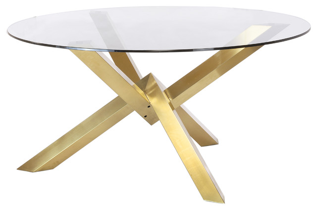 Couture Brushed Gold Dining Table With Glass Top
