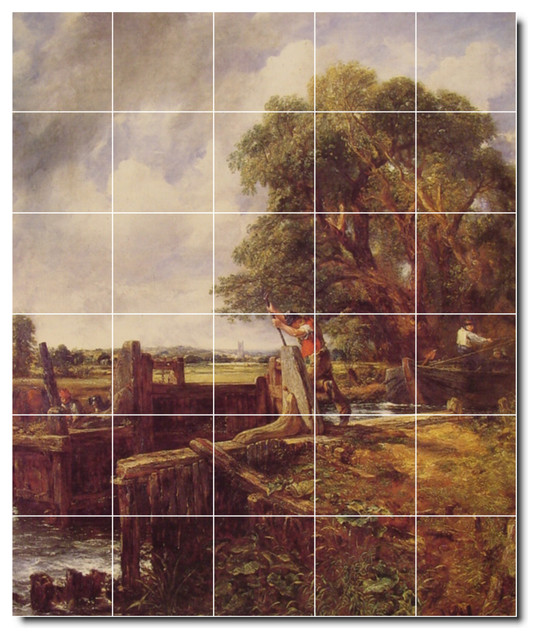 Picture tiles llc john constable country painting for Ceramic mural art
