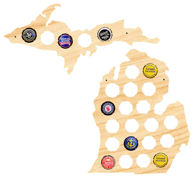 Small Michigan And Upper Peninsula Beer Cap Map