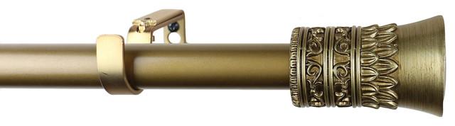 "Urbanest 1"" Diameter Tribale Curtain Rod, 48""-84"", Renaissance Gold."