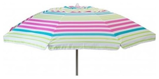 Heininger Holdings 7&x27; Beach Umbrella Lime Stripe With Travel Bag.