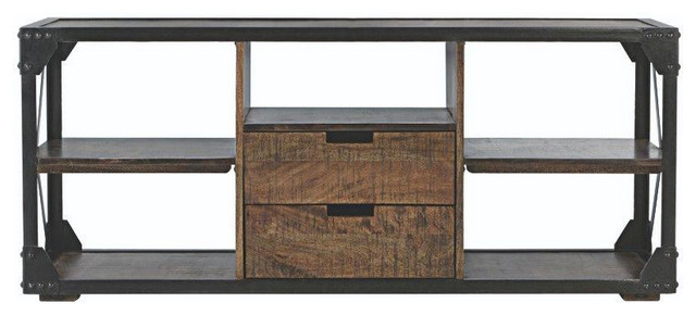 2 Drawer Media Stand In Antique Natural Industrial Media Storage