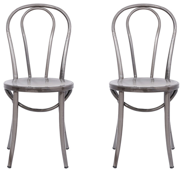 distressed metal bistro chairs, set of 2 - industrial - dining