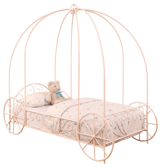 Kids Bedroom Pink Iron Canopy Carriage Girls Twin Bed.