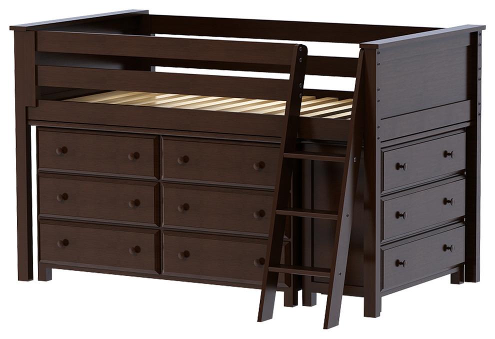 Chelsea Twin Size Mid High Storage Loft Bed, Espresso