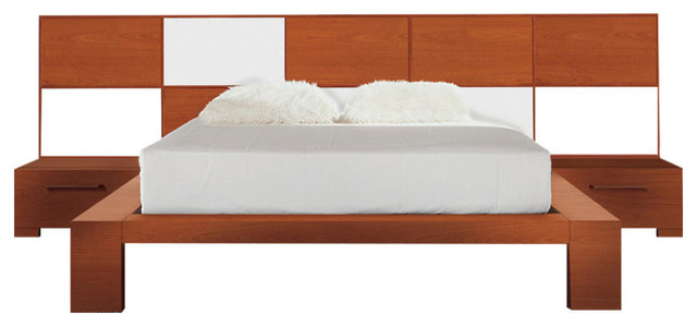Wynd Bed Set With Light, Cherry Wood With White Gloss, Queen
