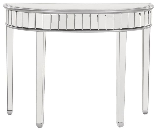 """Half Moon Table 42""""x16""""x32"""" Silver Paint By Elegant."""