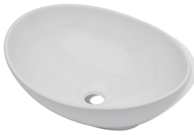 "vidaXL Ceramic Basin Oval-shaped 16.1""x13.4"" White Bathroom Vessel Sink Bowl"