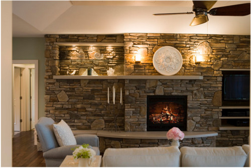 this is the related images of Stone Wall With Fireplace .
