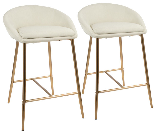 """LumiSource Matisse 26"""" Counter Stool With Gold Frame and Cream, Set of 2, Gold"""