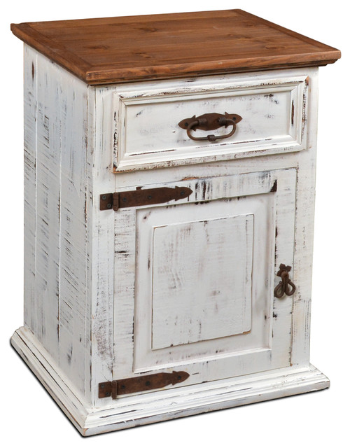 rustic white nightstand. Rustic Solid Wood Distressed White Nightstand
