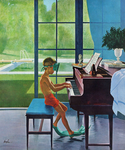 """""""Poolside Piano Practice"""" Art Print, 76x91 cm"""