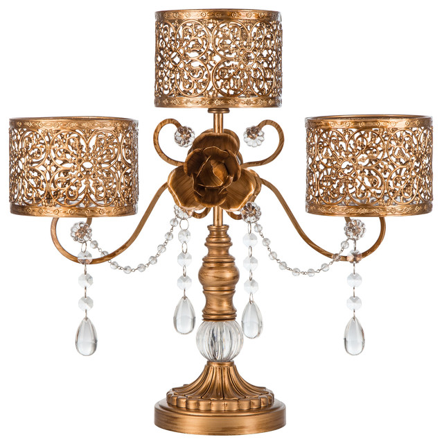 victoria gold 3pillar candle holder traditional - Gold Candle Holders