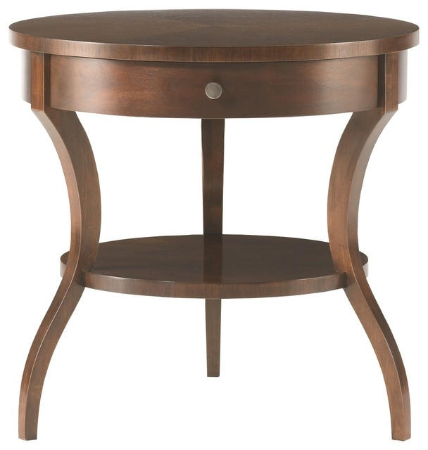 Attirant Hickory White Tiered Round End Table 653 22