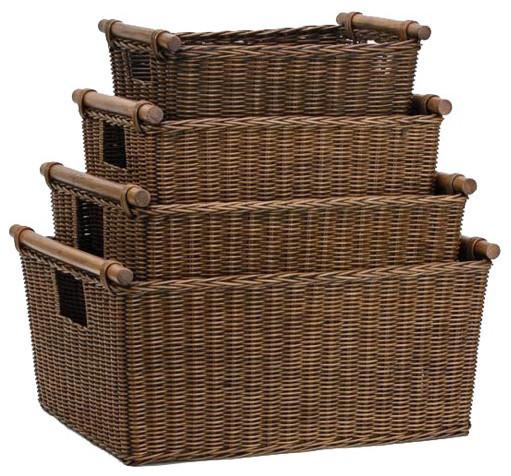 The Basket Lady Pole Handle Wicker Storage Basket