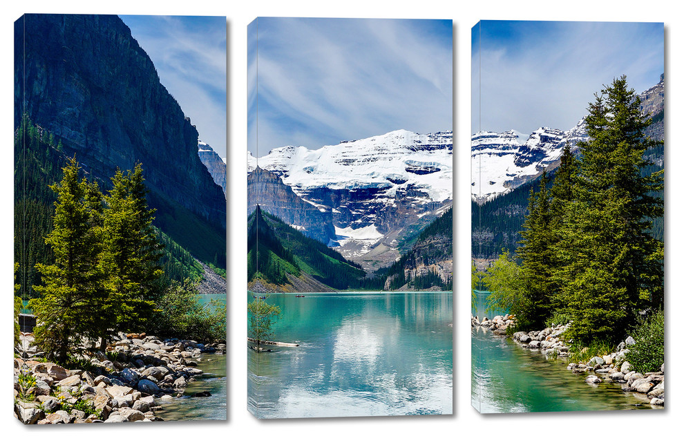 Lake Louise Canada Canvas Print Wall Art 3 Panel Split Triptych Wall Art Contemporary Prints And Posters By Canvas Quest Houzz