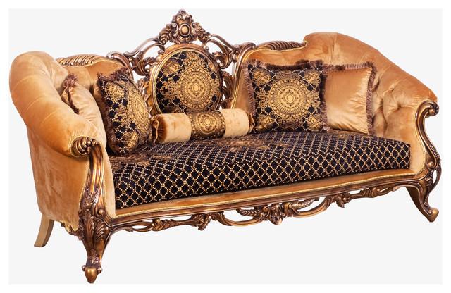 European Furniture Roa Wood Trim Sofa