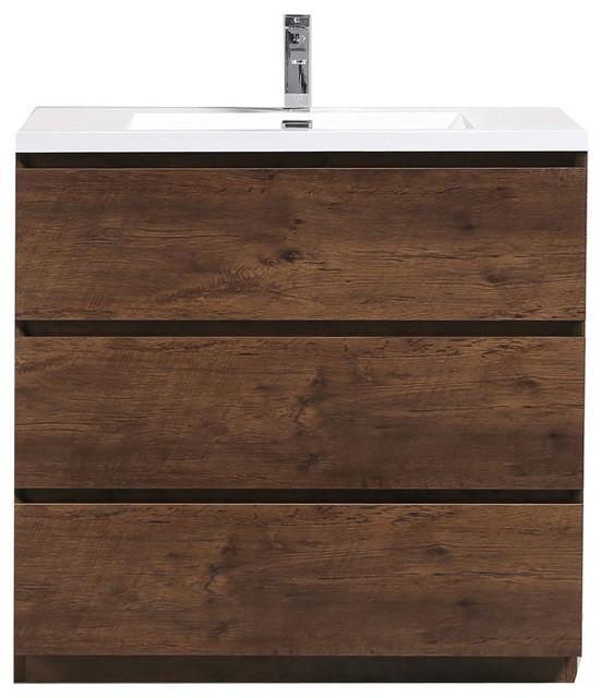 Moa Bathroom Vanity With 3 Drawers & Acrylic Sink, Rosewood, 36.