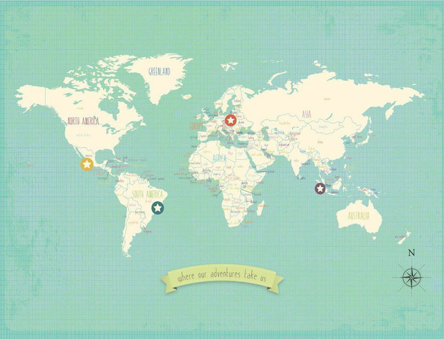 My Travels World Map Wall Art Poster Contemporary Kids Wall – Map World Poster Kids
