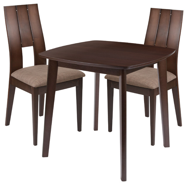 Solid Wood Transitional Dining Table And Chairs Set: Greenwich 3-Piece Wood Dining Table Set With Wood Dining
