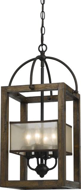 4 Light Mission Wood/Metal Chandelier, Dark Bronze Finish, Organza