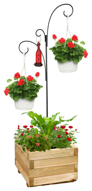 Hanging Basket Planter Stand Traditional Outdoor Pots