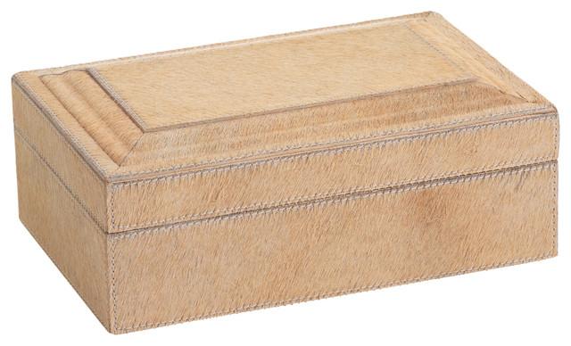 "4"" Tall ""Aspen Feel"" Hair on Leather Rectangular Decorative Box, Beige"
