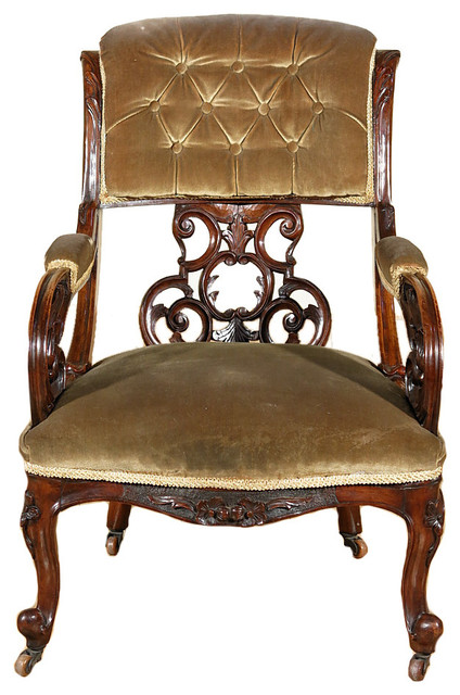 Consigned c1850 Antique Walnut Carved Upholstered Occasional Arm Chair - Consigned C1850 Antique Walnut Carved Upholstered Occasional Arm