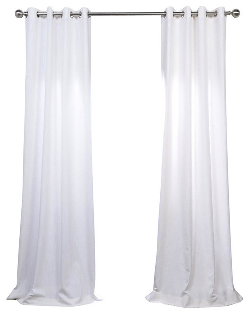 "White Grommet Heavy Fauxlinen Curtain Single Panel, 50""x96""."