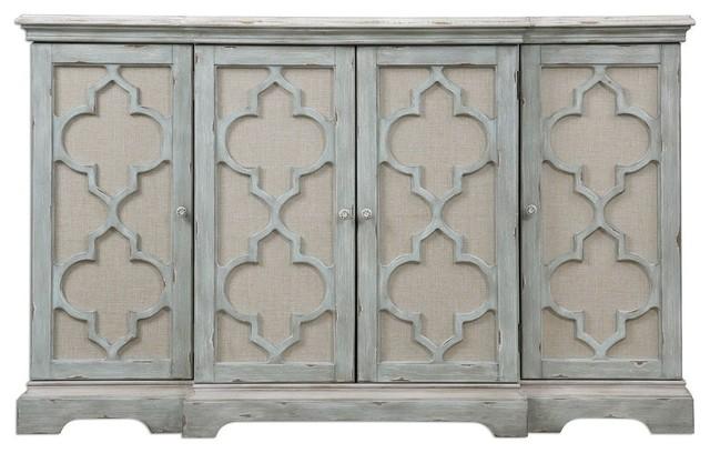 Ivory Gray Quatrefoil 4 Door Cabinet, Entertainment TV Center